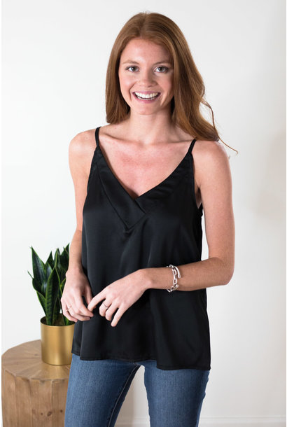 Jenna Black Satin V-Neck Cami Top