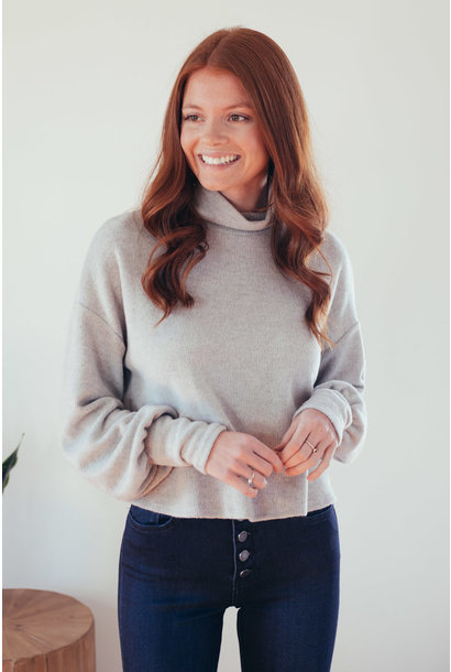 Sunday Comfort Grey Cropped High Neck Sweater