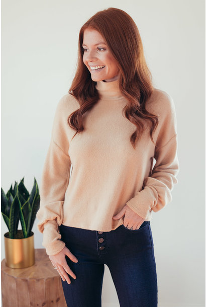 Sunday Comfort Taupe Cropped High Neck Sweater
