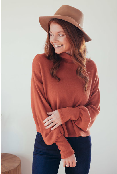 Sunday Comfort Rust Cropped High Neck Sweater