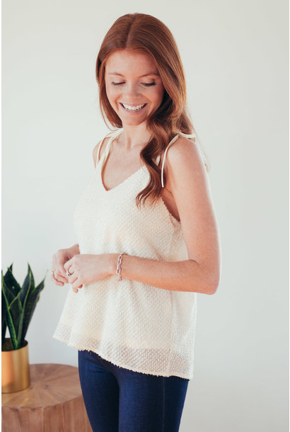 Gillian Cream Textured Tie Shoulder Cami Top