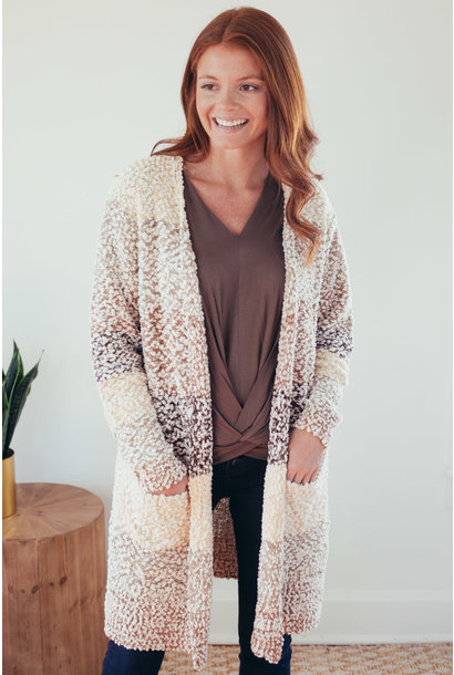Amy Taupe Color Block Sweater Cardigan