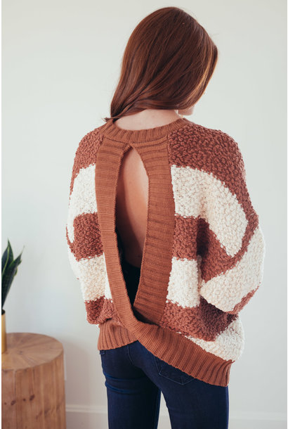 Set The Bar Rust Stripe Open Back Sweater