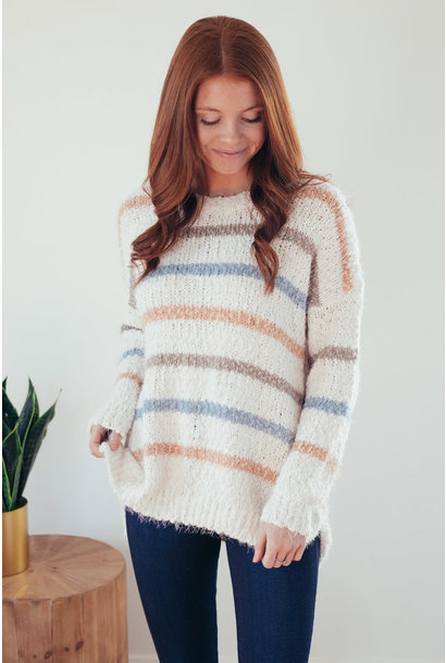 Mixed Emotions Pastel Stripe Fuzzy Sweater