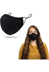(Black) Anti-viral Fabric Face Masks With Adjustable Straps