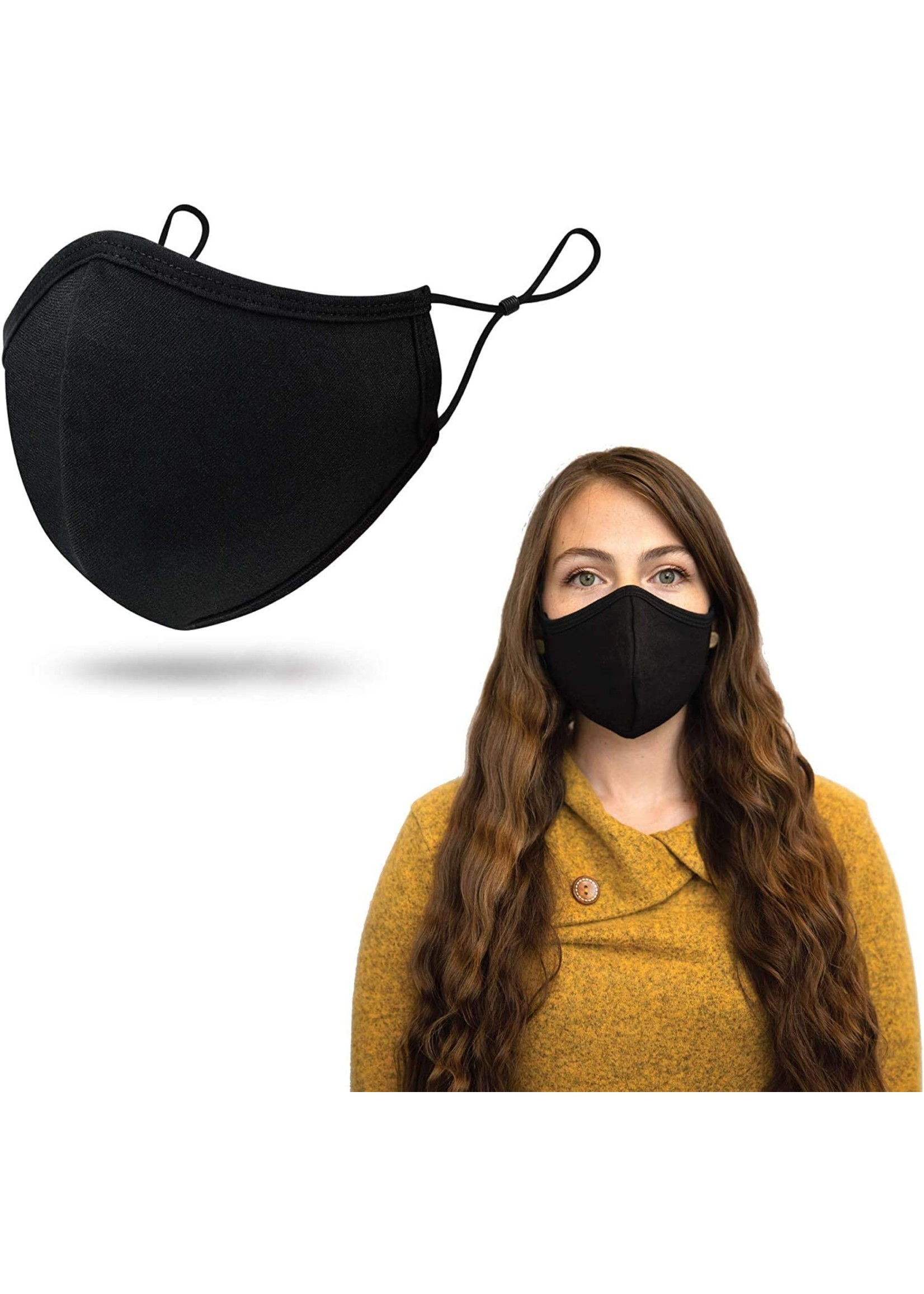 Black Fabric Face Masks With Adjustable Straps