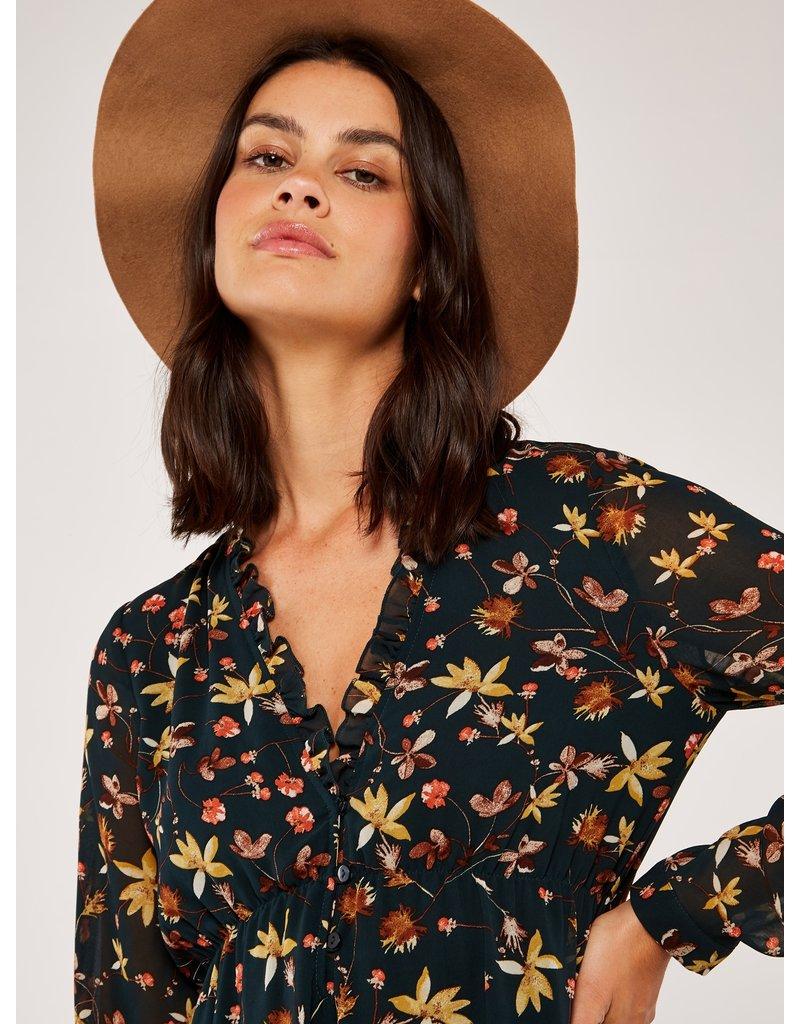 Apricot Floral Frill Neck Chiffon Dress