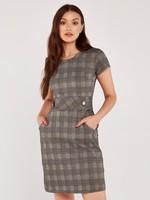 Apricot Heritage Check Jacquard Dress