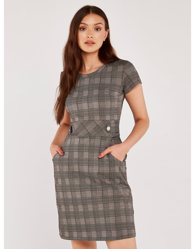 Apricot Heritage Check Jacquard Dress