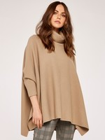 Apricot Roll Neck Oversized Poncho Jumper