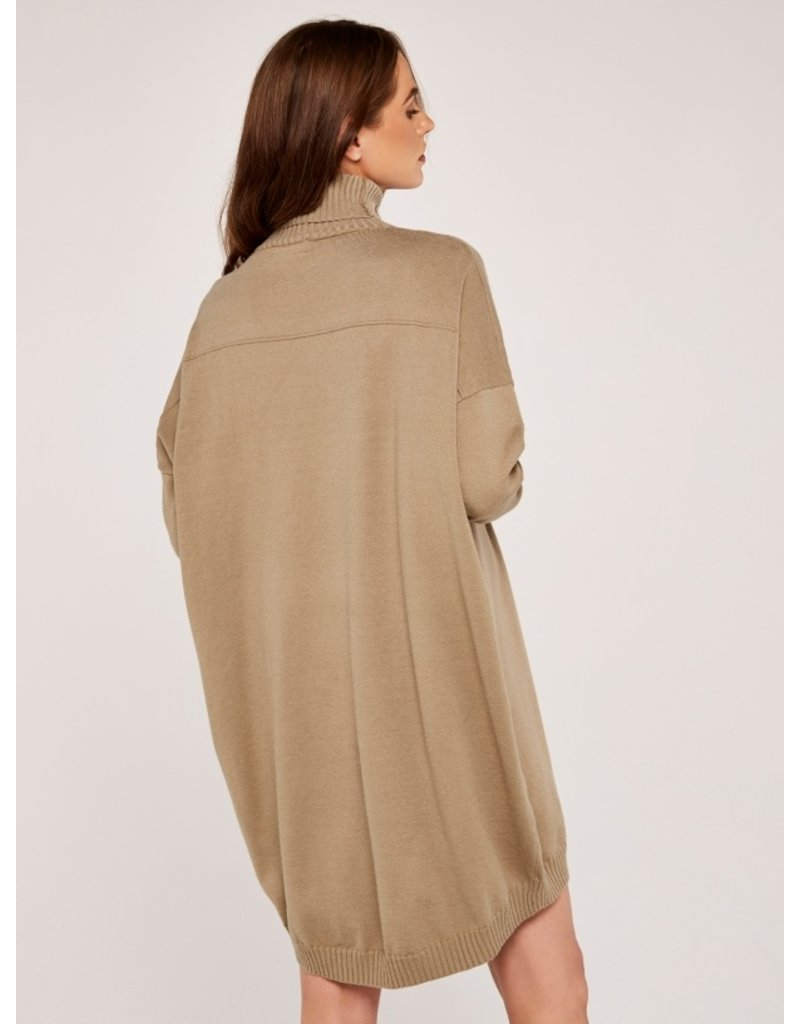 Apricot Roll Neck Cocoon Jumper Dress