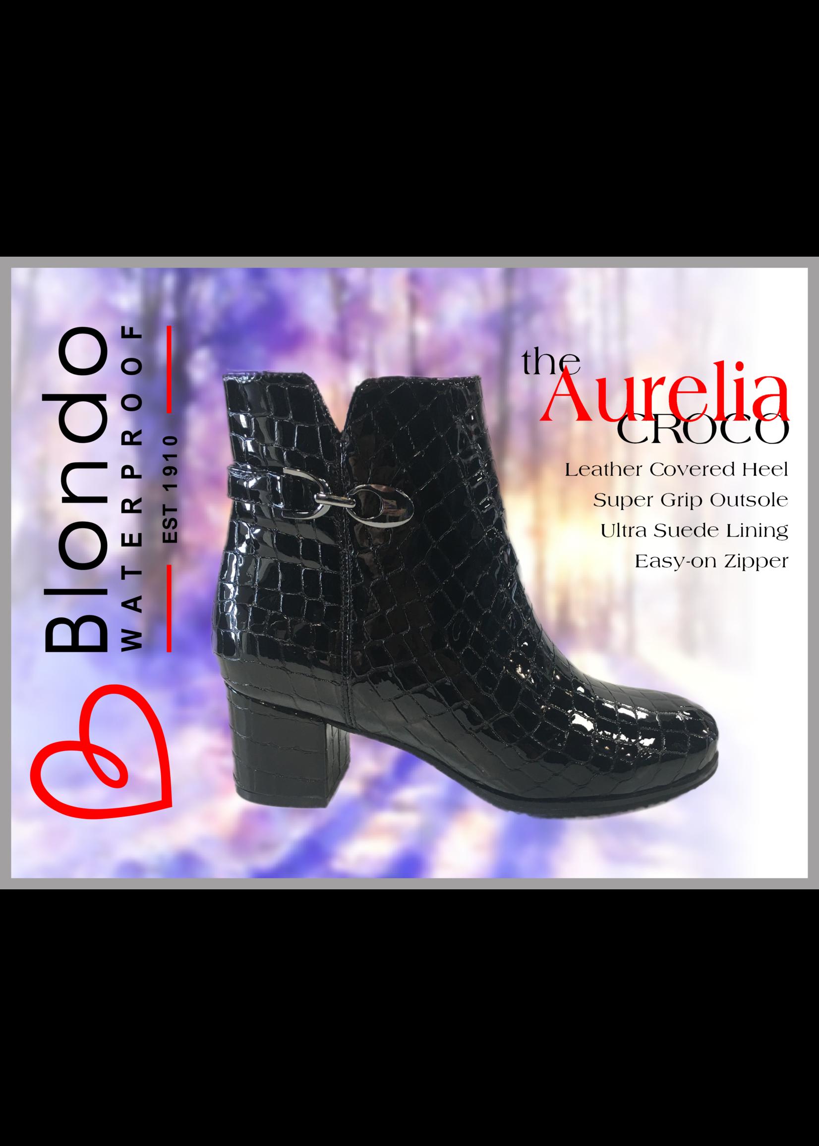 Blondo Aurelia Black Croco Patent Leather