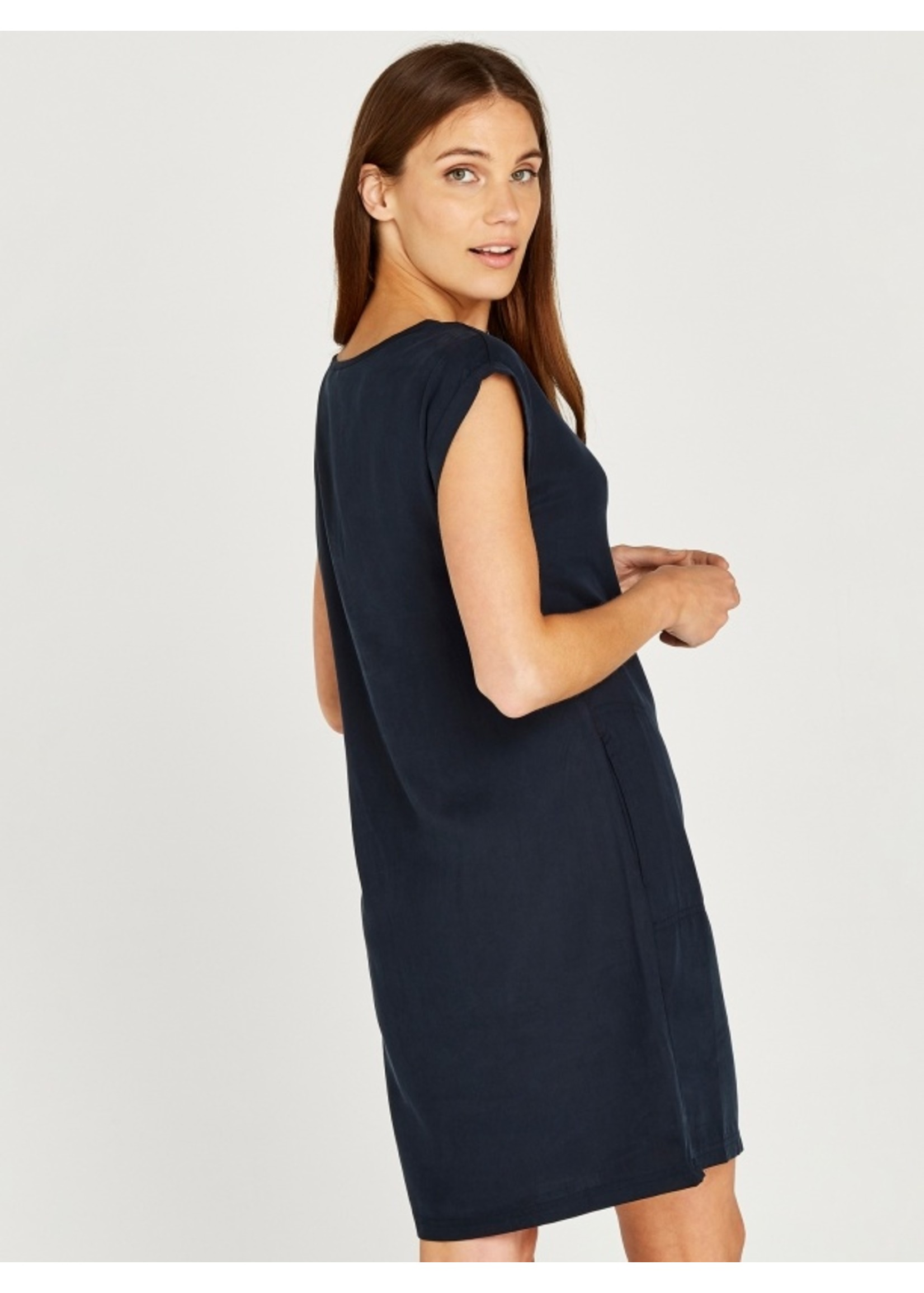 Apricot 2 Side Pocket Turn Up Sleeve Dress