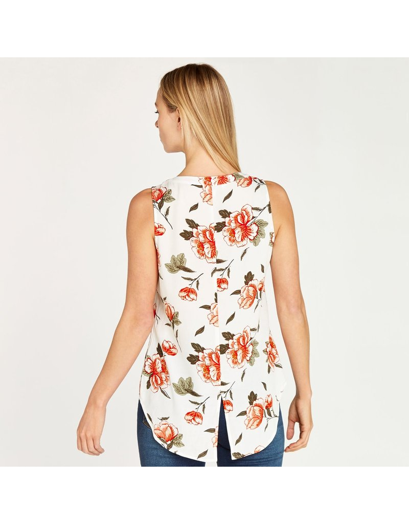 Apricot Floral Button Down S/Less Shirt