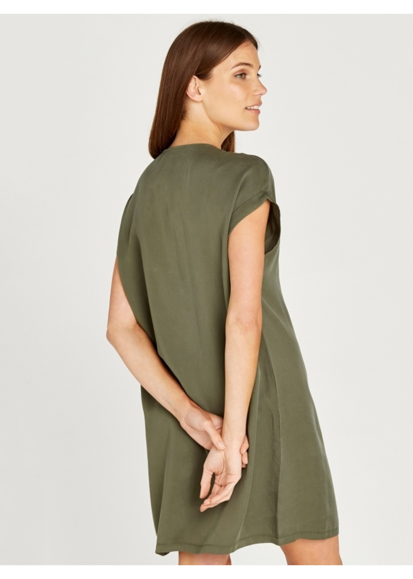 Apricot Tencel Zip Front Turn Up Dress
