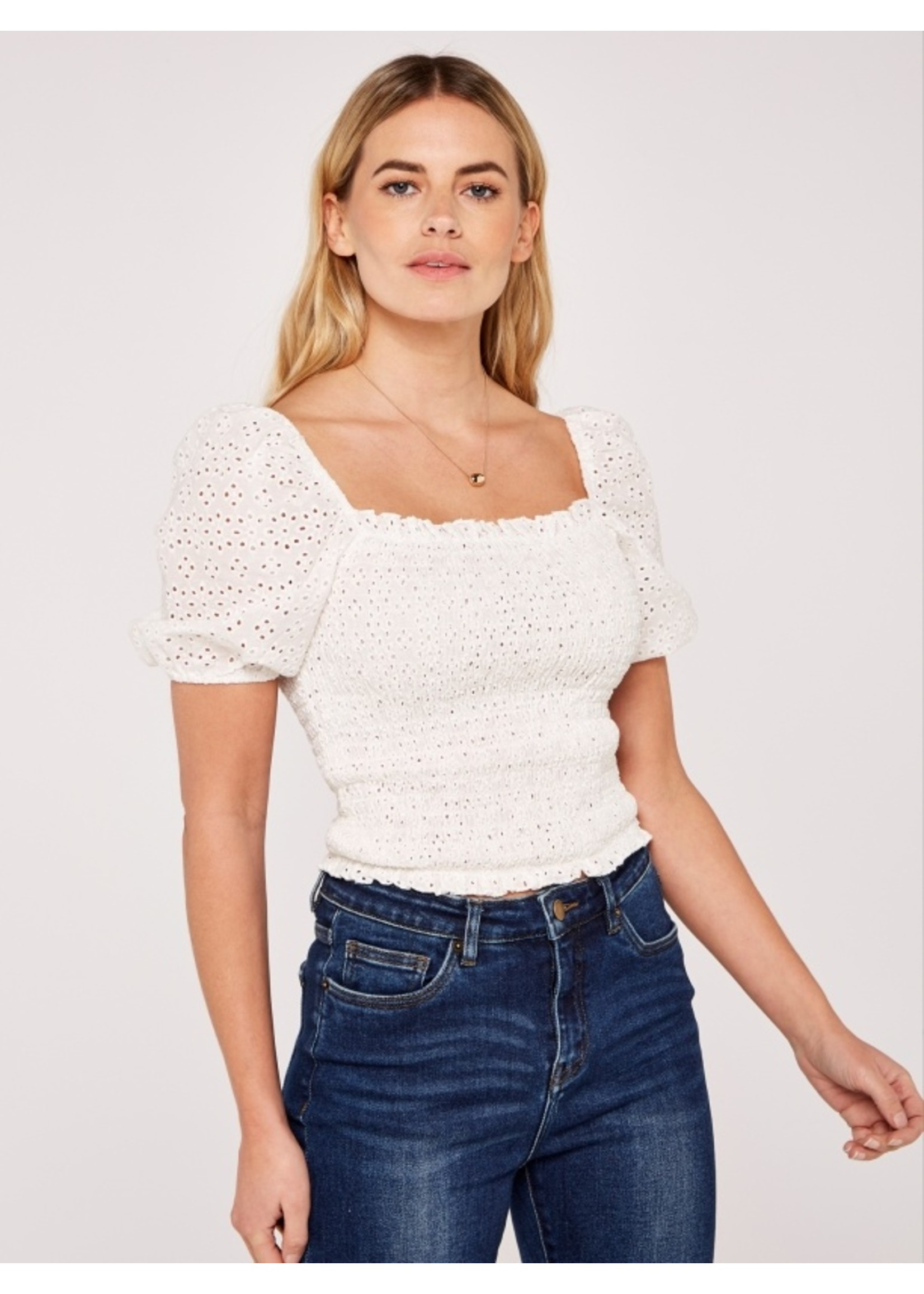 Apricot Broderie Anglaise Smock Top