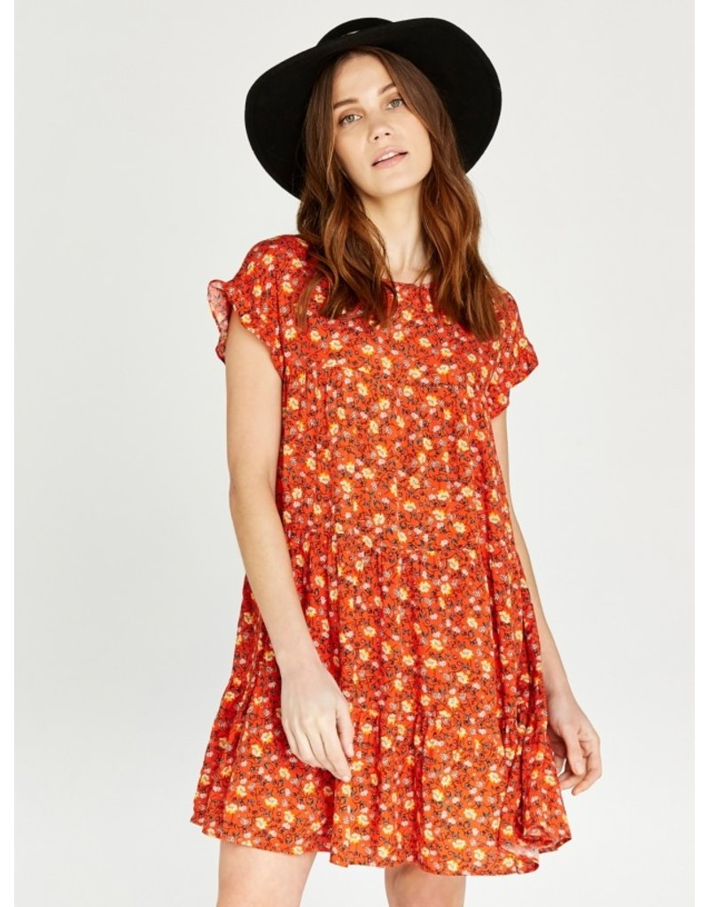 Apricot Floral Ruffle Sleeve Tiered Dress
