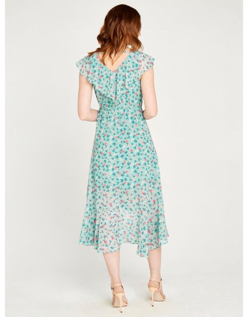 Apricot Floral Ruffle Detail Midi Dress