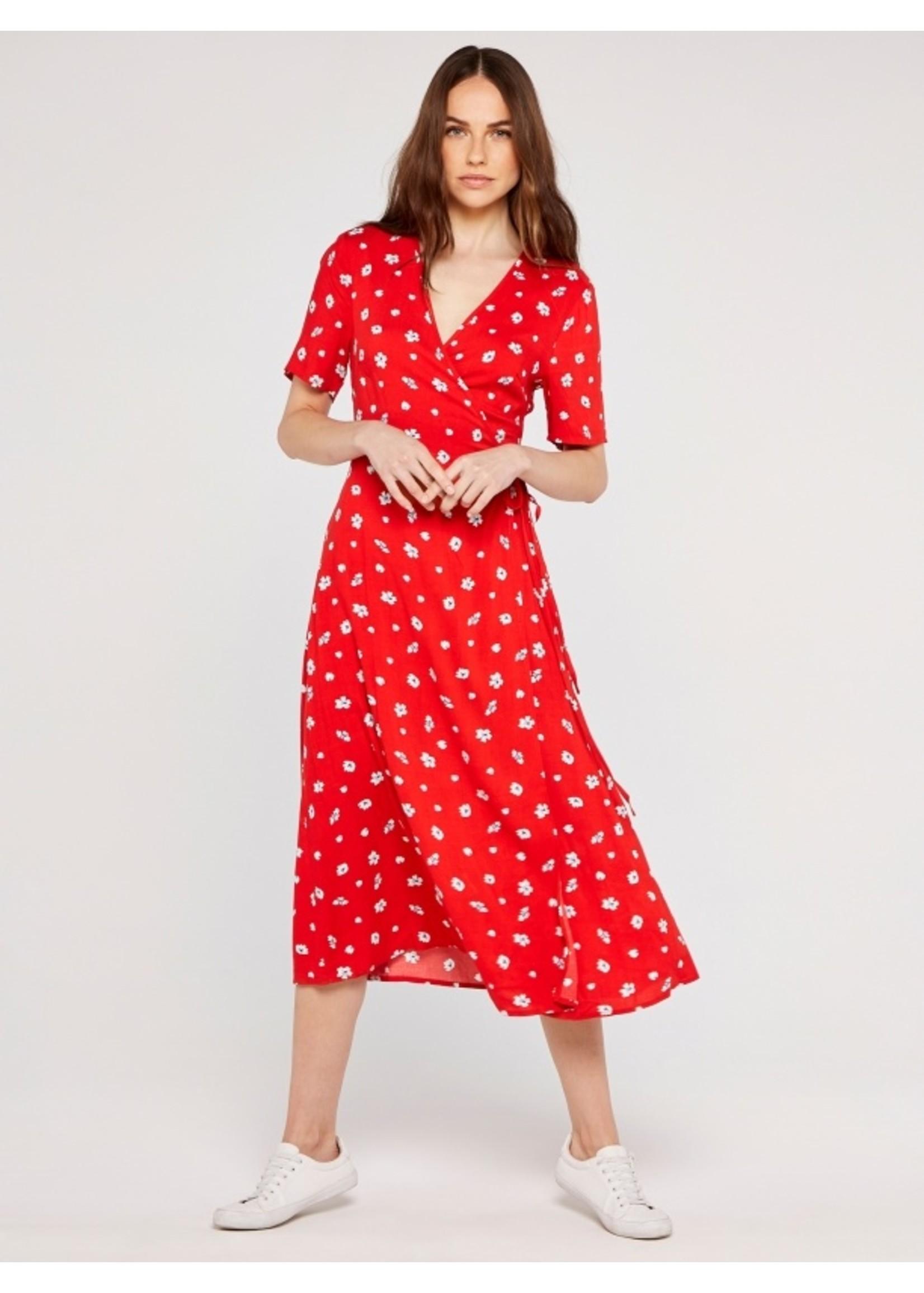Apricot Floral Spot Wrap Midi Dress