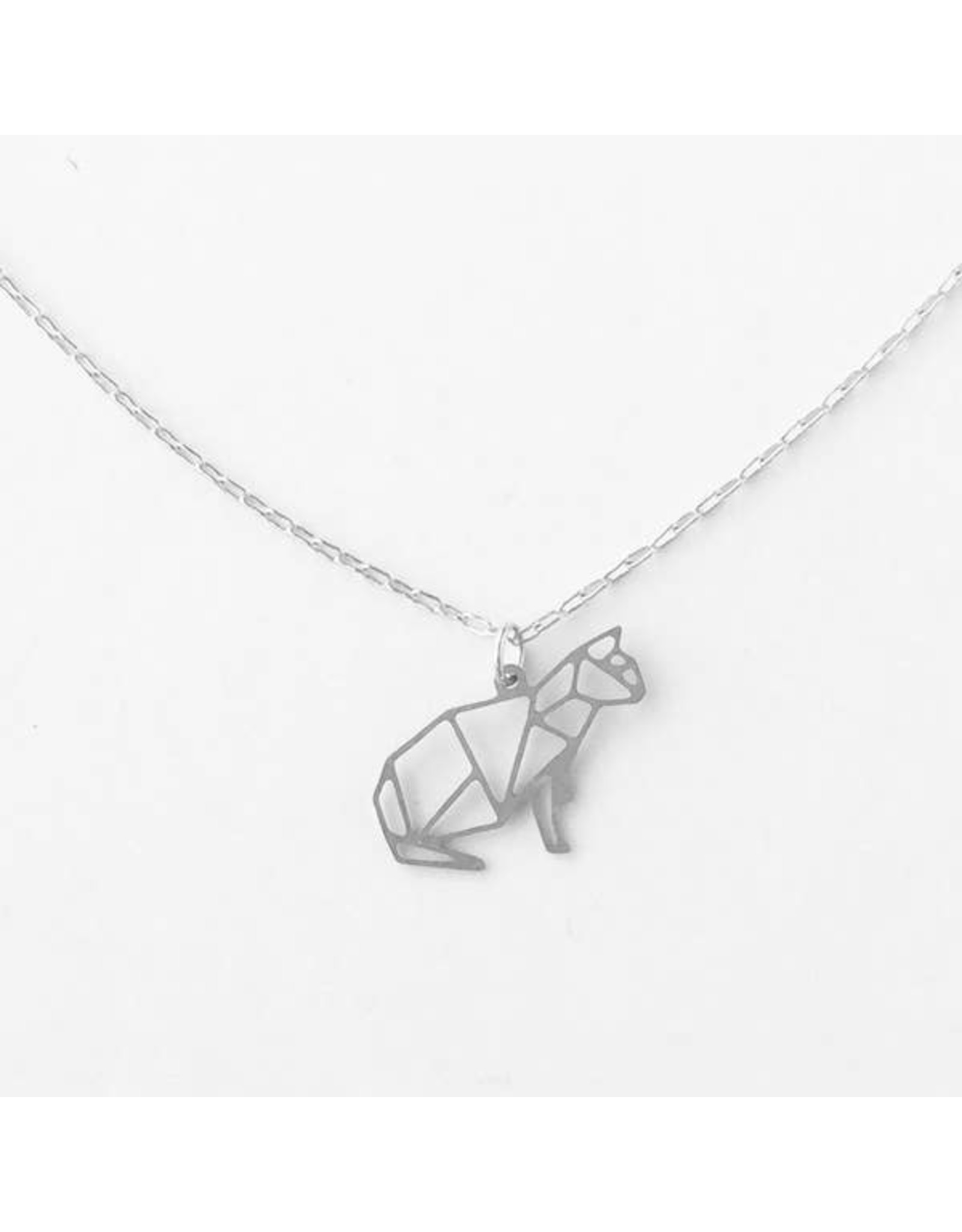 TLJ  Kitty Cat Necklace: Silver