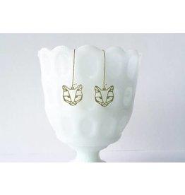 TLJ Cat Face Earrings: Gold