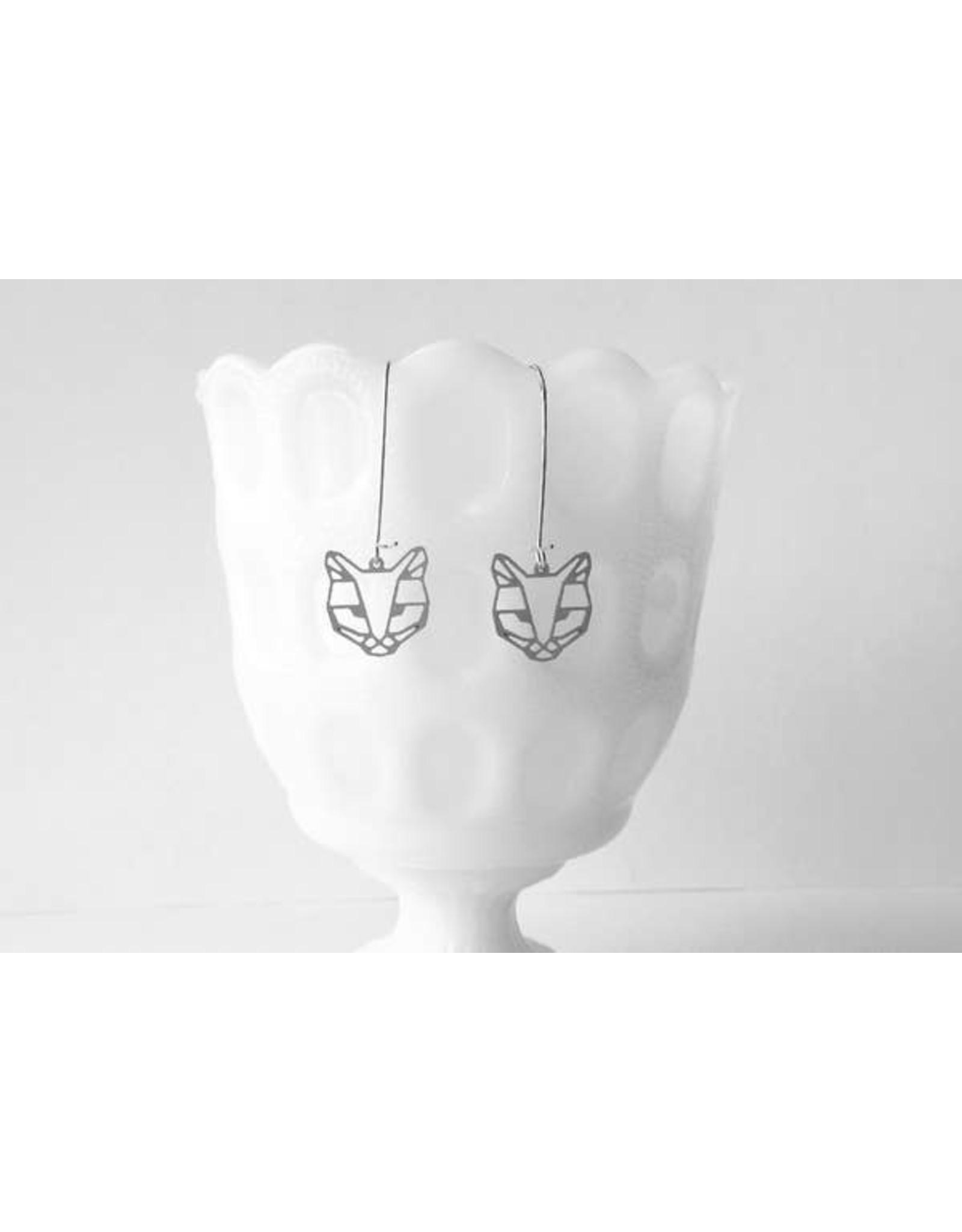 TLJ Cat Face Earrings: Silver