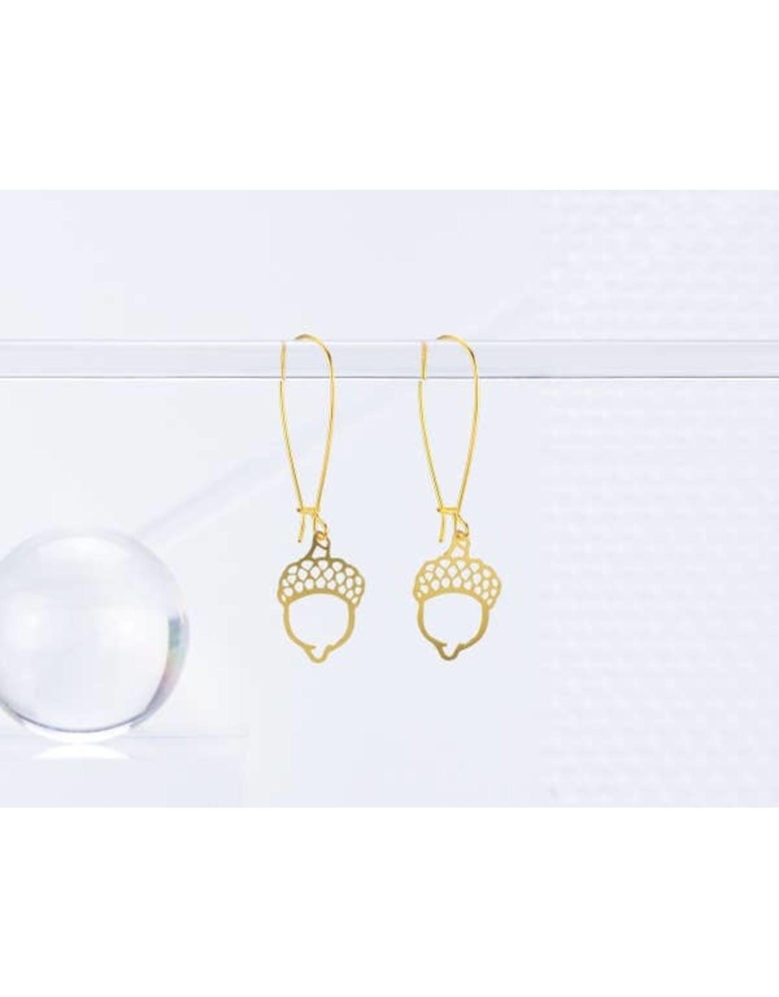 TLJ Oak Acorn Earrings: Gold