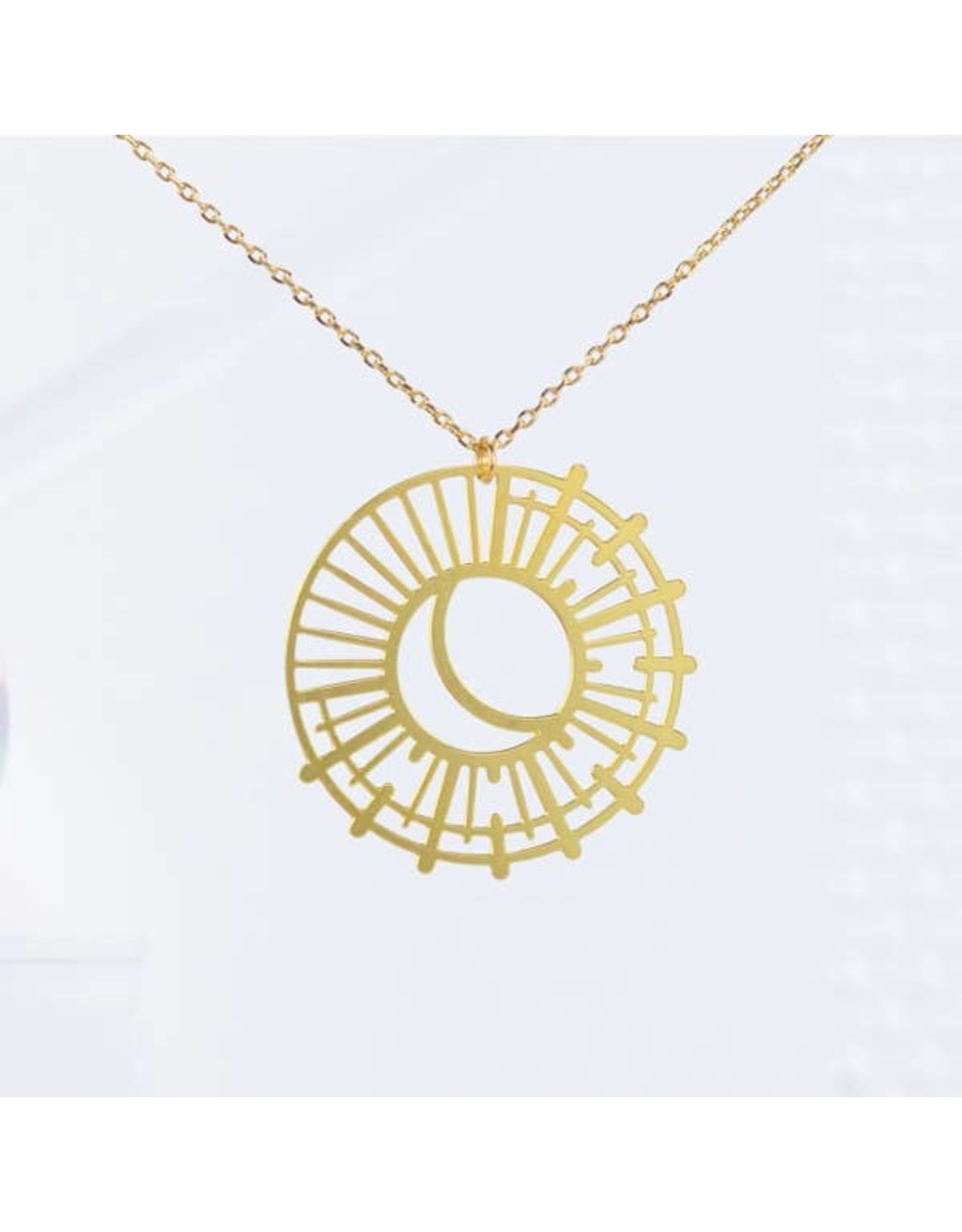 TLJ Sun and Moon Necklace: Gold