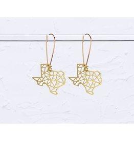 TLJ Texas State Geometric Earrings: Gold