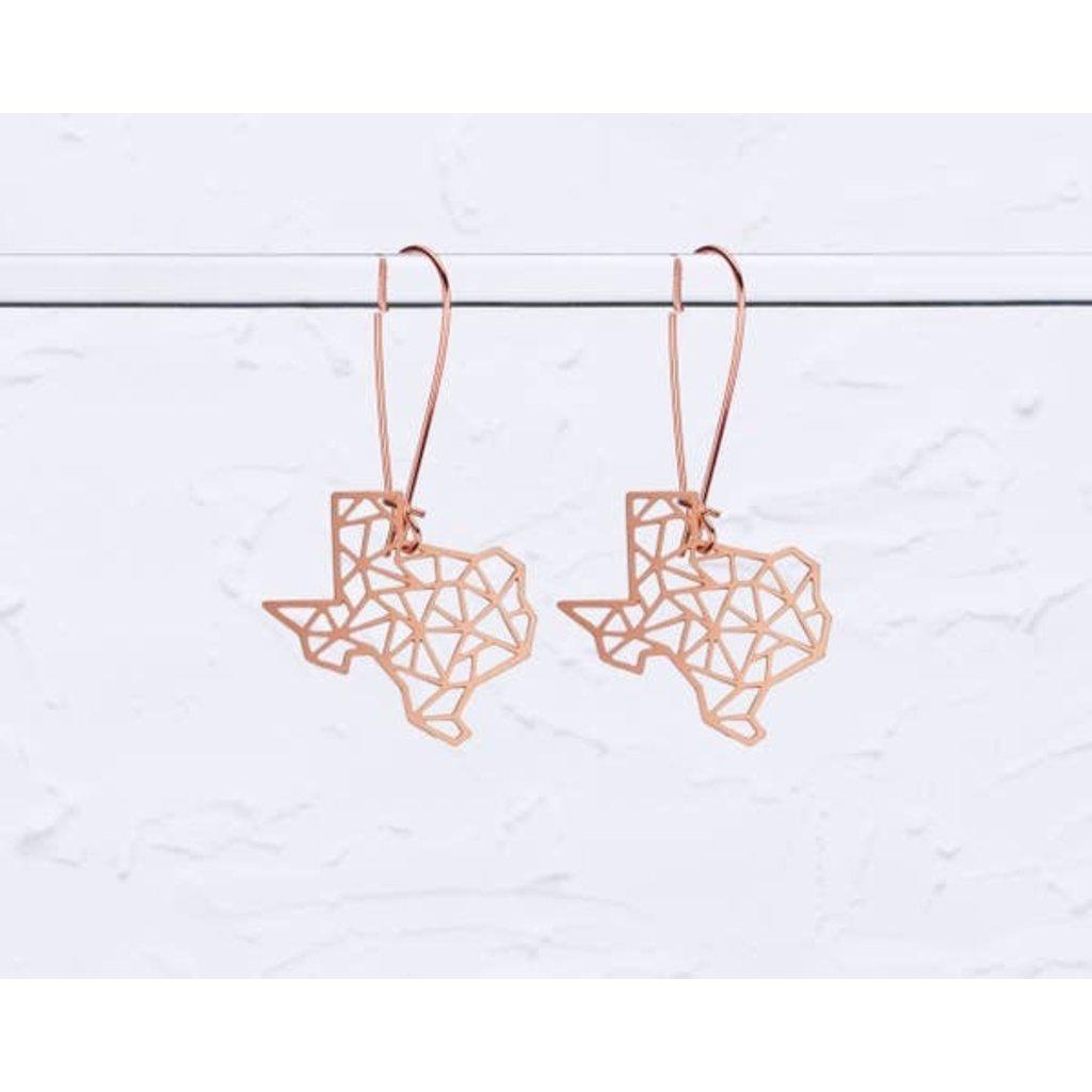 TLJ Texas State Geometric Earrings: Rose Gold