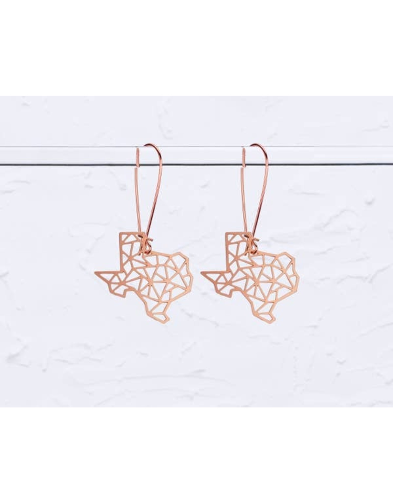 TLJ Texas State Geometric Earrings: Rose Gold