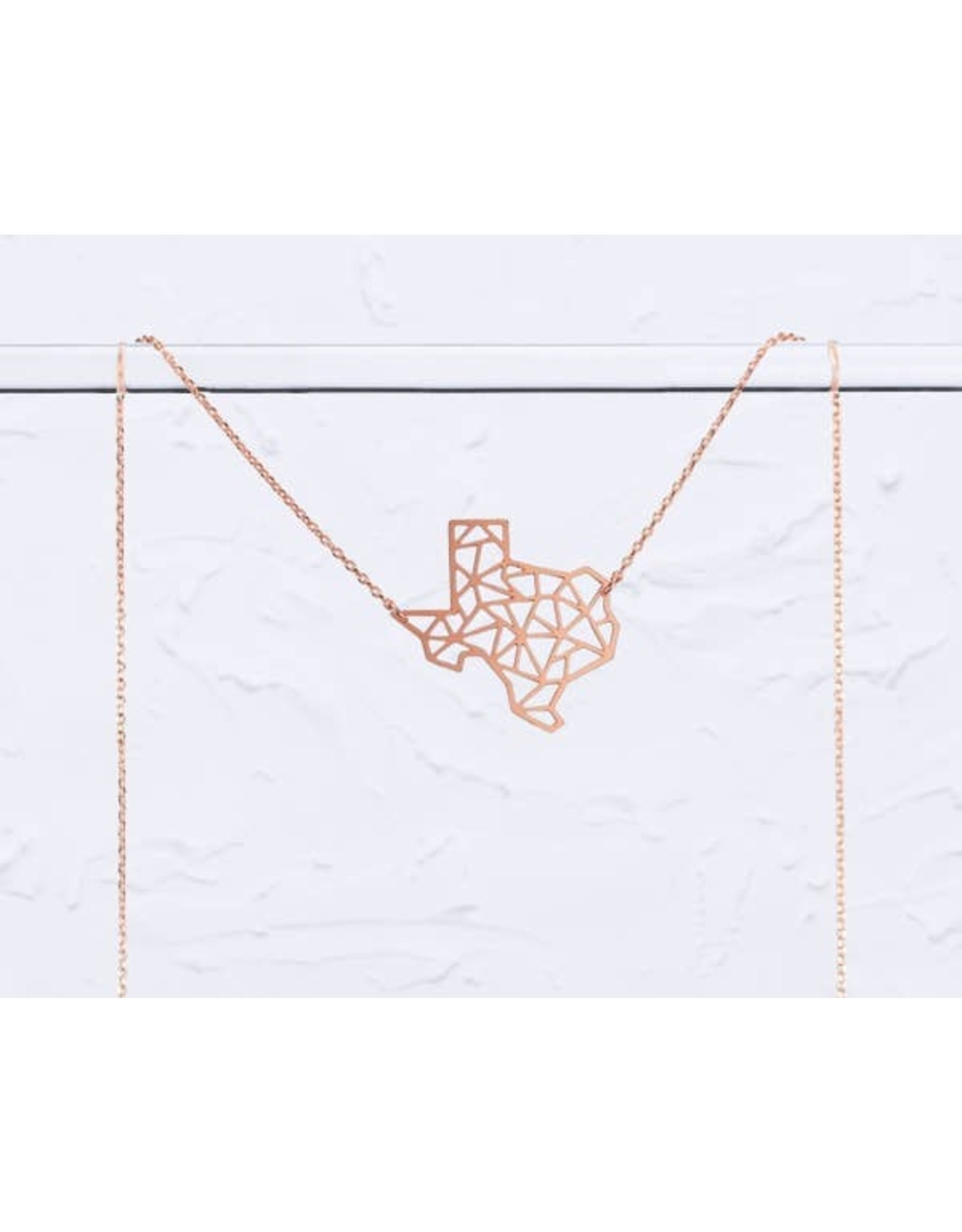 TLJ Texas State Geometric Necklace: Rose Gold