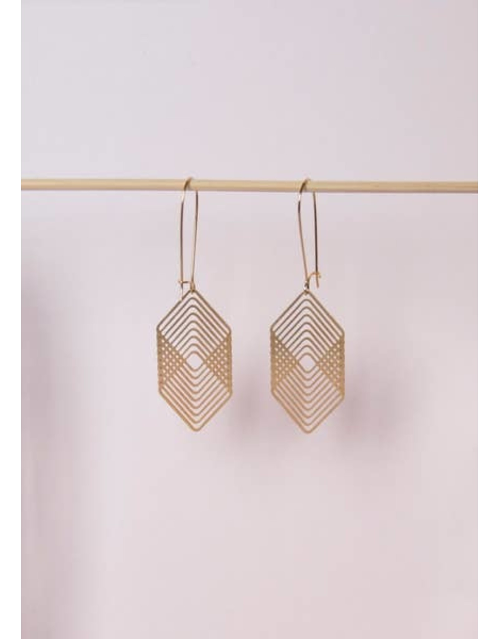 TLJ Overlapping Squares Earrings: Gold