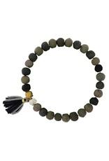 WorldFinds Kantha Noir Tassel Bracelet
