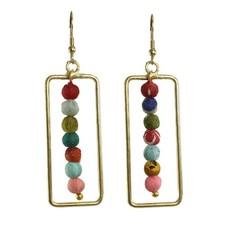 WorldFinds Kantha Framed Earrings