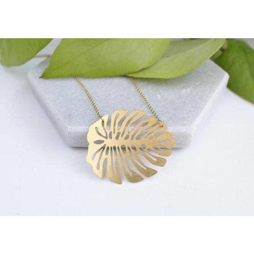 TLJ  Monstera Deliciosa Leaf Necklace - Gold