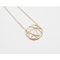 TLJ  Faceted Geometric Sphere Necklace - Gold