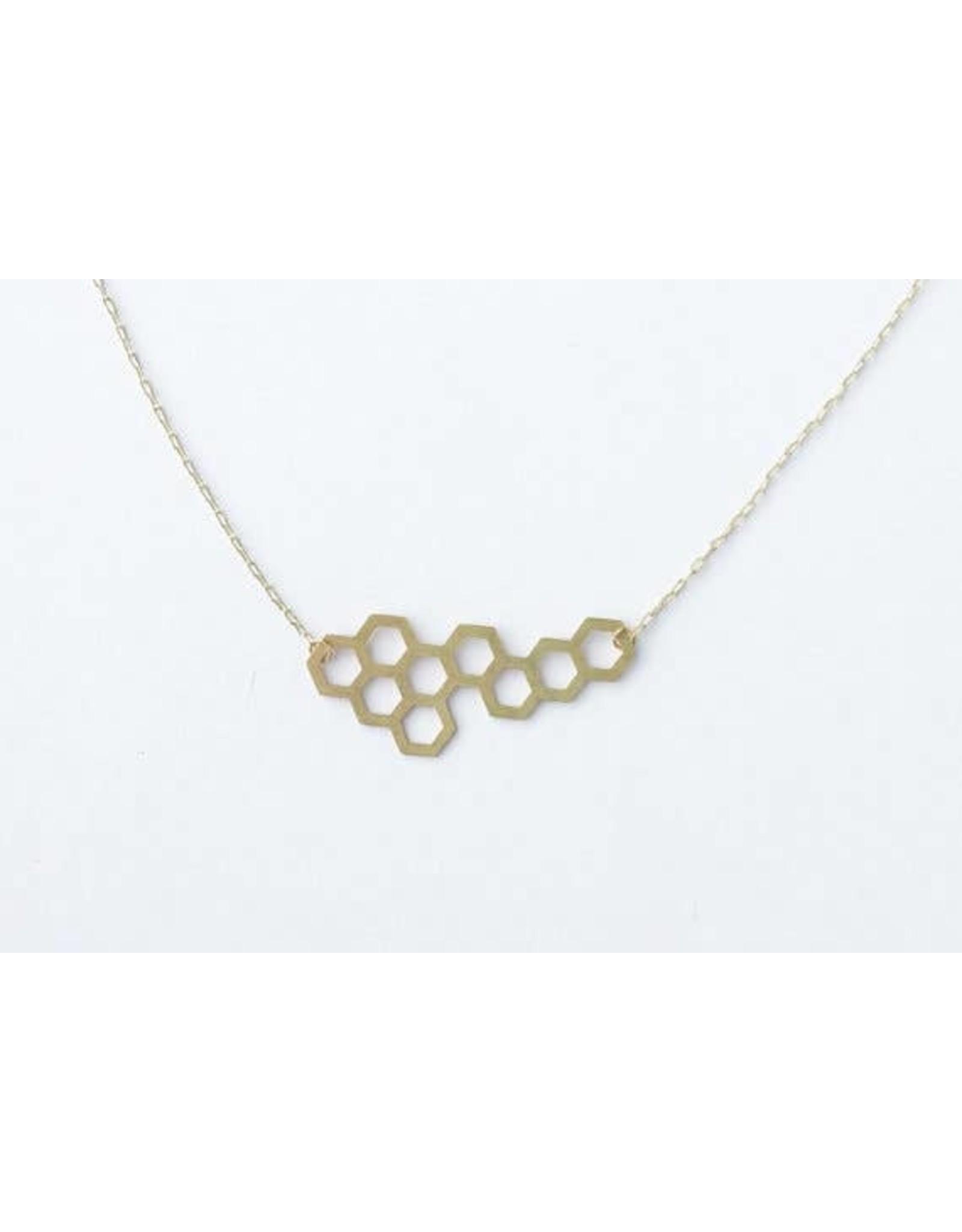 TLJ  Honeycomb Necklace - Gold