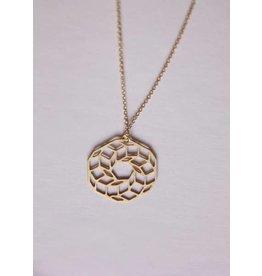 TLJ  Spirograph Flower Necklace - Gold