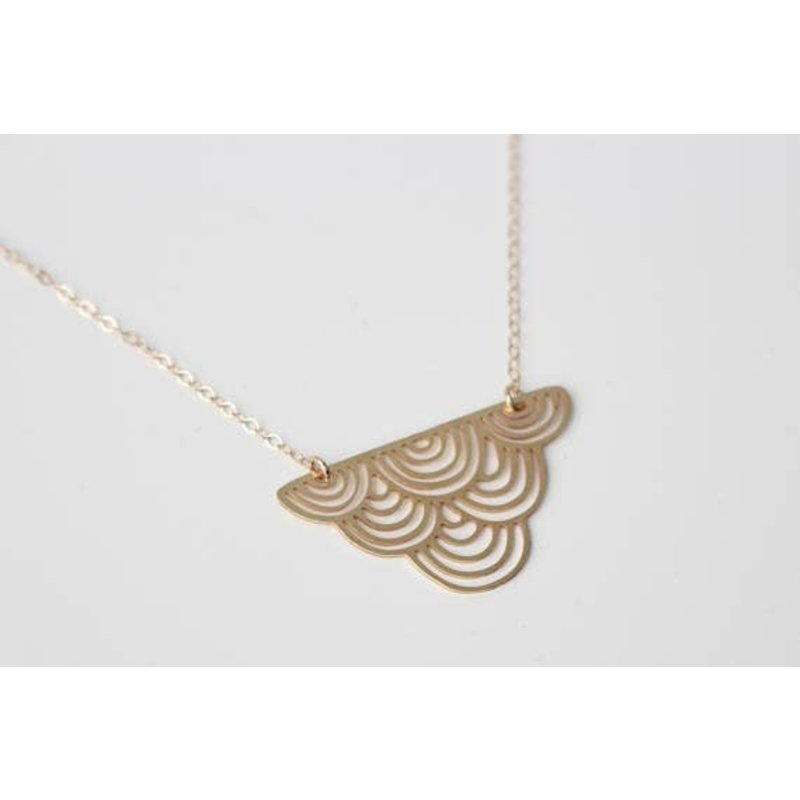 TLJ  Striped Cloud Small Necklace - Gold