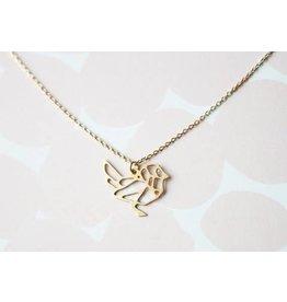 TLJ  Geometric Bird Necklace - Gold