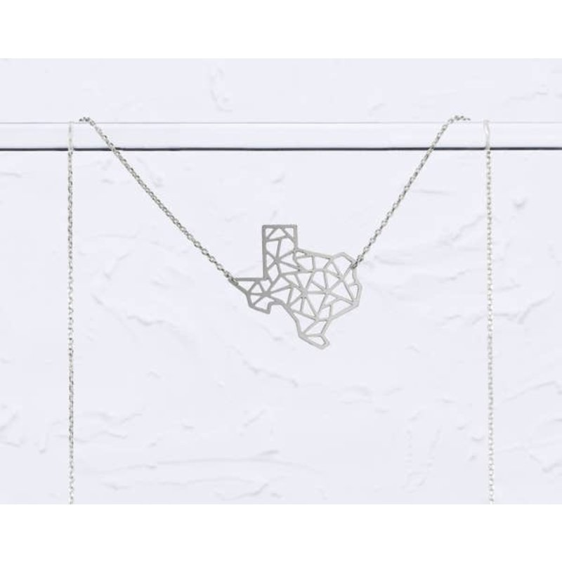 TLJ Texas State Geometric Necklace: Silver