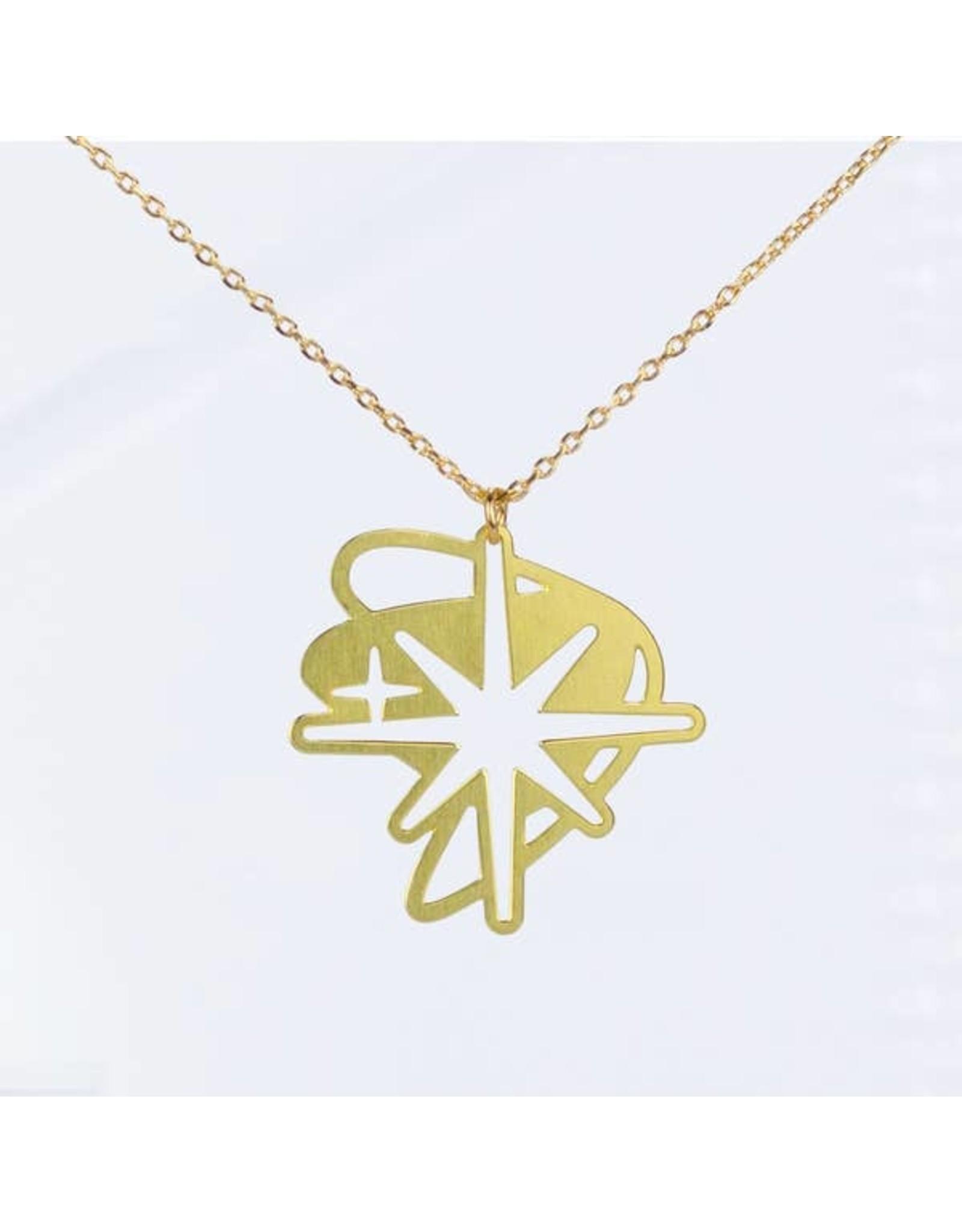 TLJ  Retro Starburst Necklace - Gold