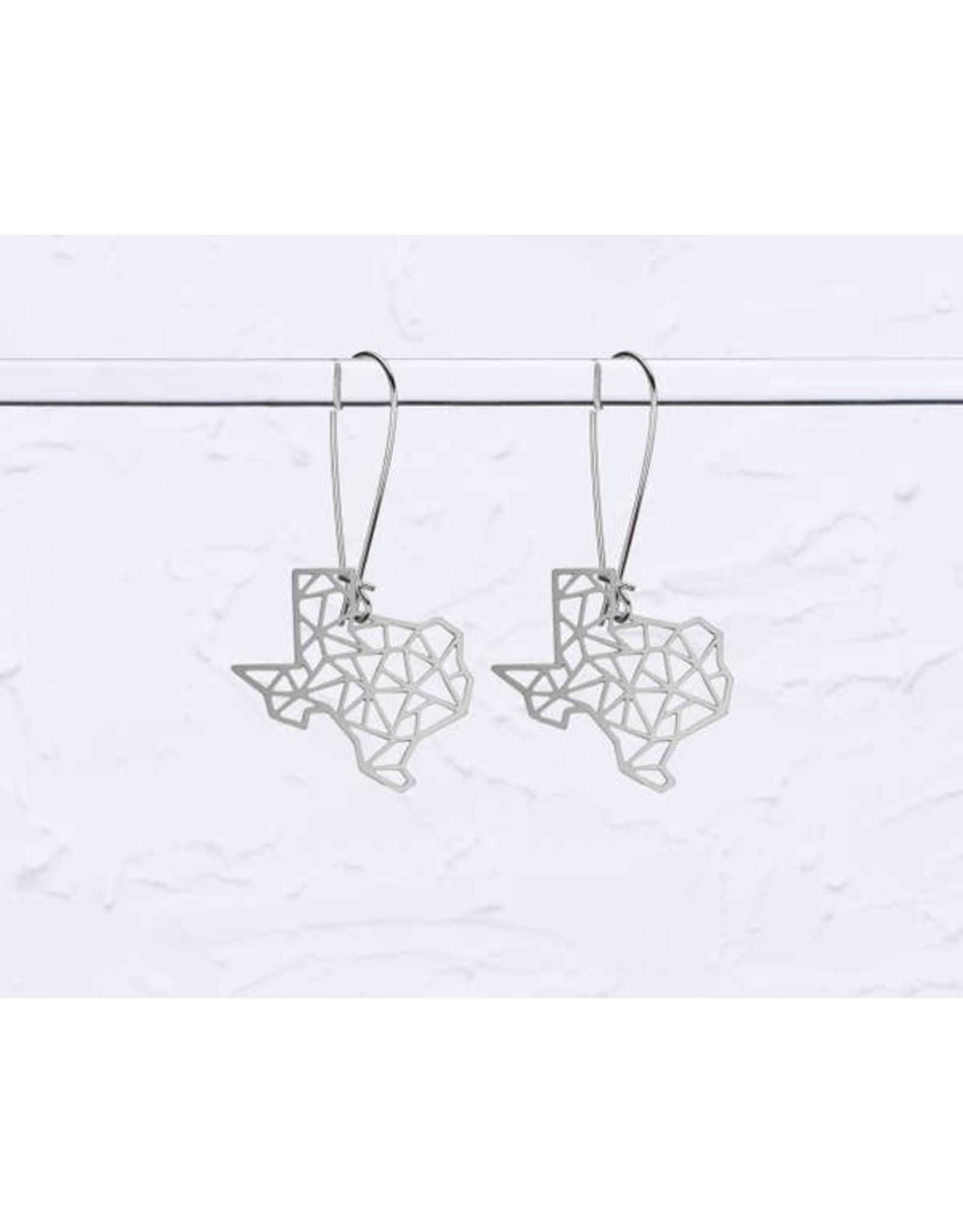 TLJ Texas State Geometric Earrings: Silver