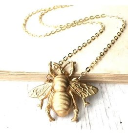 Red Truck Gold Bee Necklace