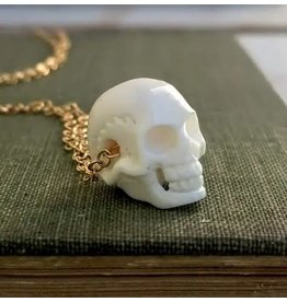 Red Truck Bone Carved Skull Necklace