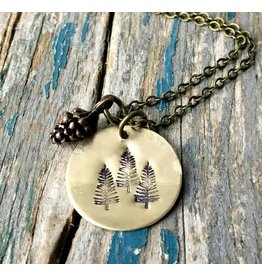 Red Truck Stamped Pine Tree Necklace