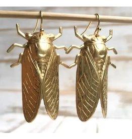 Red Truck Gold Beetle Earrings