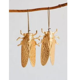 Red Truck Gold Cicada Earrings