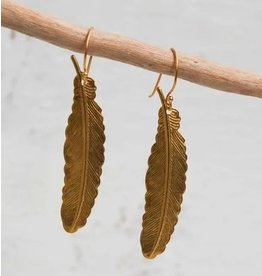 Red Truck Gold Feather Earrings